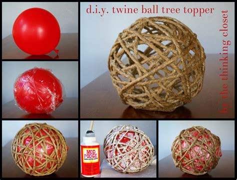 diy glitter twine ornaments d i y twine tree topper the thinking closet