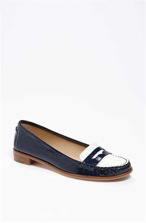 navy patent loafers kate spade loafers in blue navy patent lyst