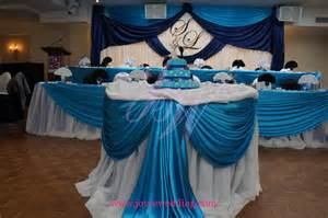 turquoise and blue wedding reception decoration