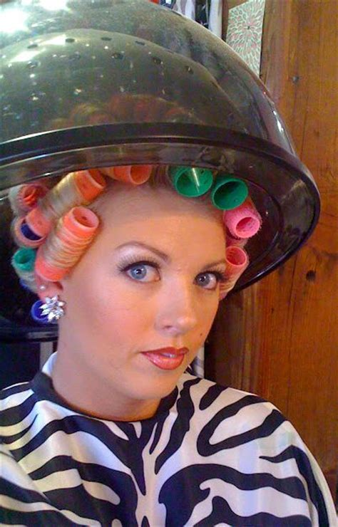 wife setting husband hair in curlers husband feminization in hair salon tumblr