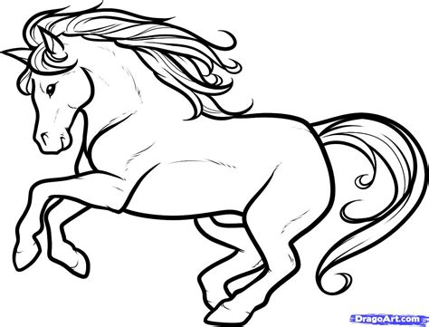 white horse coloring page draw a white stallion white stallion step by step