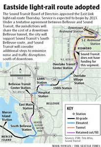 East Link Light Rail sound transit approves east link light rail route the seattle times