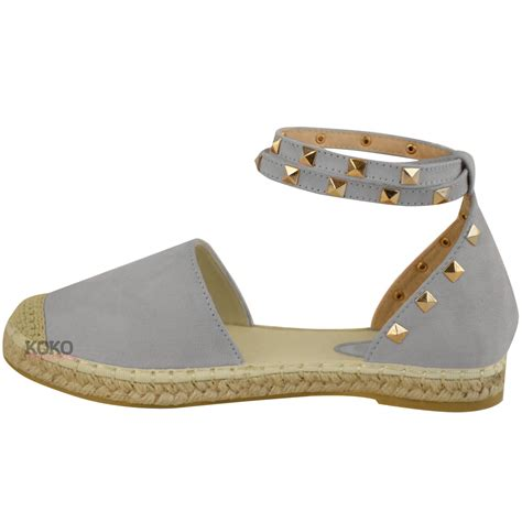 ankle flat sandals womens studded espadrilles flats ankle strappy