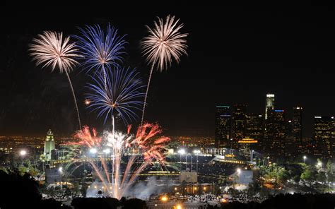 new years fireworks in california usa california los angeles lights fireworks holidays fourth july new year cities buildings