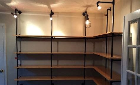 Diy Lighted Pipe Shelving 1 5 2015 Cool Material Gas Pipe Shelving