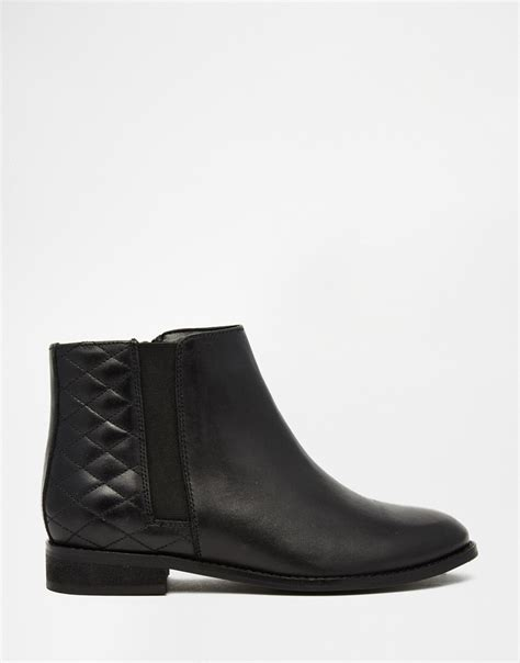 asos alaska wide fit leather ankle boots in black lyst