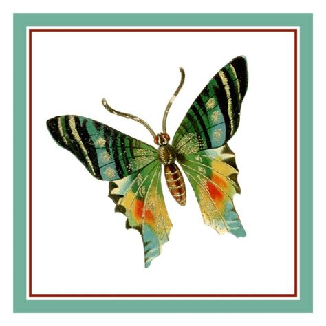 colorful stitches colorful green gold black butterfly counted cross stitch