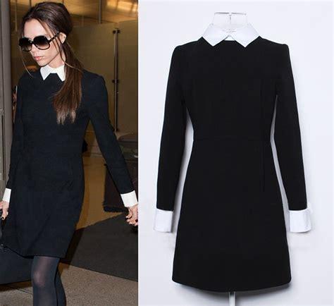 Button 3tone Blouse G Ci inverno delle donne di modo ufficio abito nero con