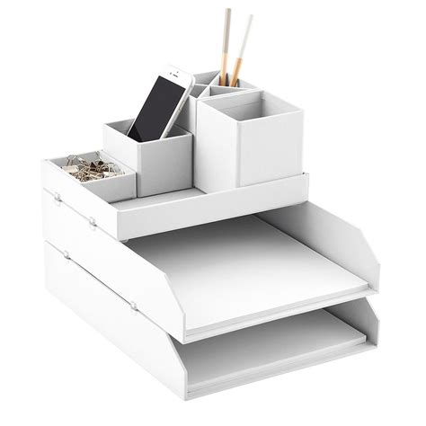 White Desk Organizers Bigso White Stockholm Desktop Organizer The Container Store