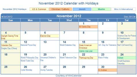 Calendar November 2012 Print Friendly November 2012 Us Calendar For Printing