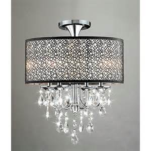 Chandeliers With Shades And Crystals Bubble Crystal And Chrome Flushmount Chandelier
