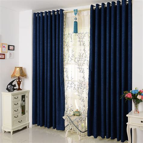 Simple Curtains For Living Room Modern And Simple Solid Color Cotton Curtain Fabric Curtains Living Room Bedroom Blackout