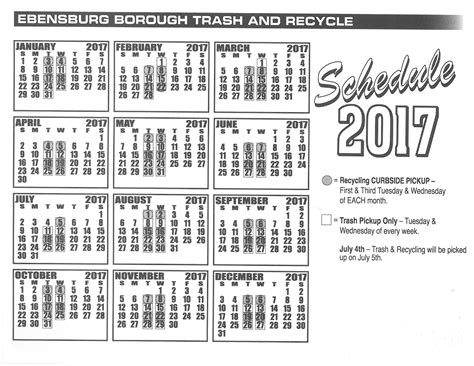 Calendar Trash 2017 Trash Recycling Clean Up Schedule