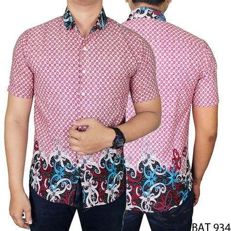 Kemeja Katun Merah kemeja batik pria modern lengan pendek katun merah muda