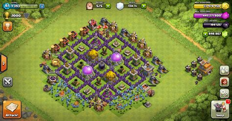 layout coc untuk th 7 farming base clash of clans th 7 design base clash of