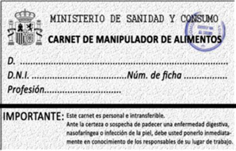 normativa del manipulador de alimentos  su historia curso carnet  certificado de