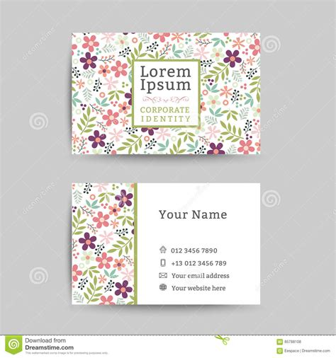 floral business name card design template stock vector