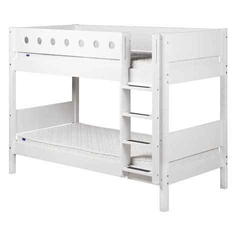 Flexa White Bunk Bed With Straight Ladder And Safety Rail Bunk Bed Ladder Safety