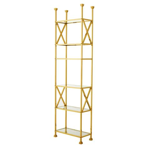 etagere 6 cases eichholtz delmar regency gold glass 6 shelved
