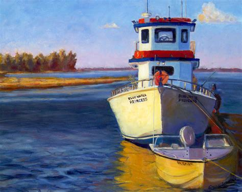 bluewater boat company blue water fishing boat painting by elaine schulstad