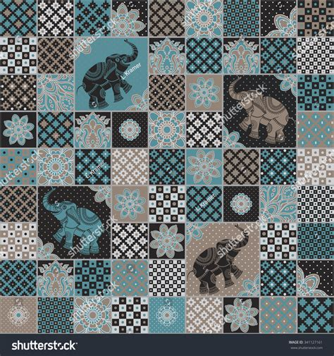 seamless pattern pale gray turquoise curls vector seamless patchwork pattern dark turquoise stock