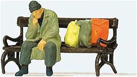 homeless man on bench homeless man on bench model railroad figure ho scale