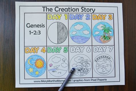 days of creation coloring pages creation coloring pages martha