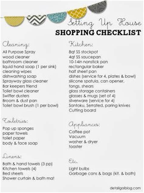 cleaning supplies checklist free printable setting up house checklist kitchen cleaning linens starting from scratch