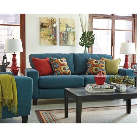 ashley furniture teal sofa ashley sagen 4 piece fabric sofa set in teal 93902 38 35