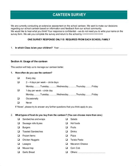 form survey template sle survey form 12 free documents in pdf