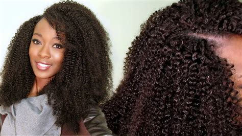 latch hook curls invisible u part kinky curly wig using a crochet latch