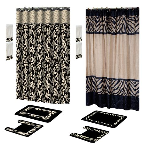 shower curtain and towel sets contemporary black 17 piece bath rug shower curtains with