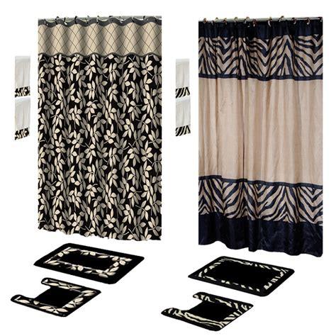 Contemporary Black 17 Piece Bath Rug Shower Curtains With Bathroom Towel And Rug Sets