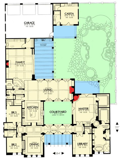 plan 16386md courtyard living with casita