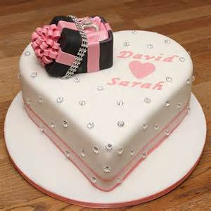 Handmade Cakes - engagement cake with handmade fondant ring ring box