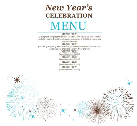 new years menu template new year s menu 187 template