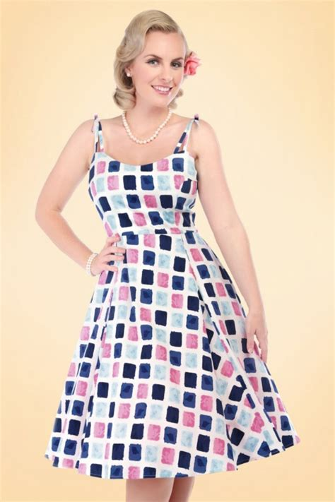 Clothing Jannie 50s janie paint pot print swing dress in blue and pink