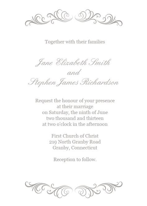 simple wedding invitations templates free flourishes invitation in silver wedding invitation