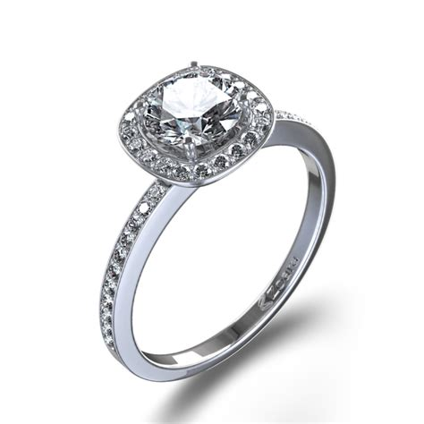 pave set halo engagement ring in 14k white gold