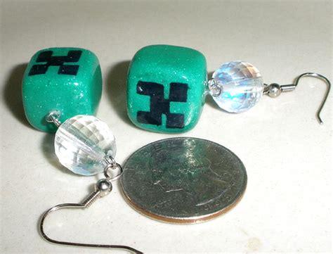 minecraft earrings minecraft disco creeper earrings polymer clay by brisbykins