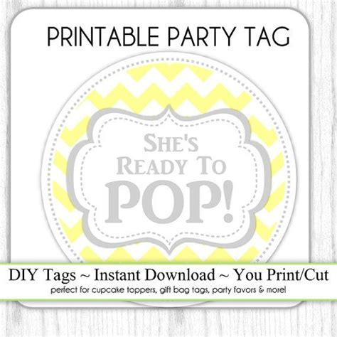 instant gray and yellow chevron she s ready to pop baby s