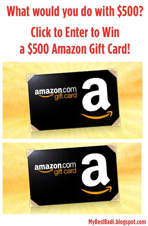 Win A 500 Amazon Gift Card - amazon 500 gift card sweepstakes my best badi