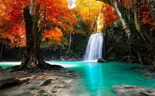 colorful waterfalls colorful trees waterfall nature tropical forest