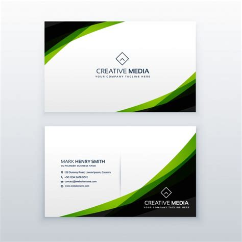 green card template for green and black business card template vector free