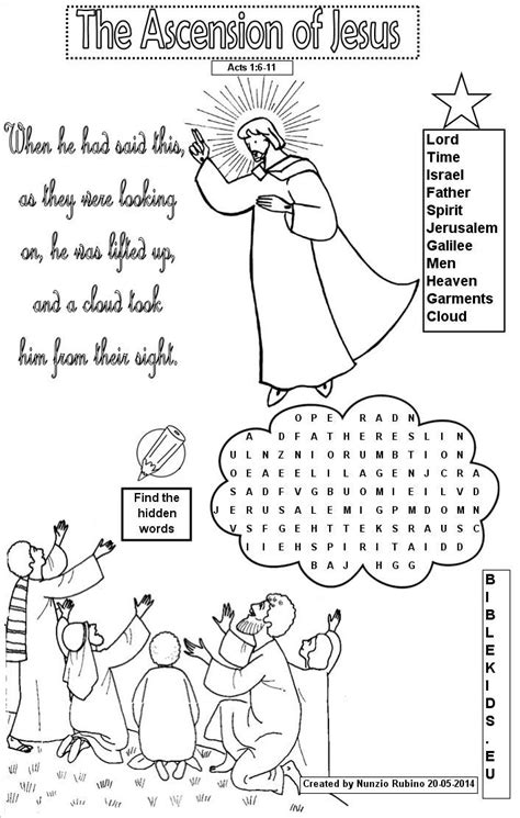 sunday school coloring pages jesus ascension word search for ascension of jesus search bible