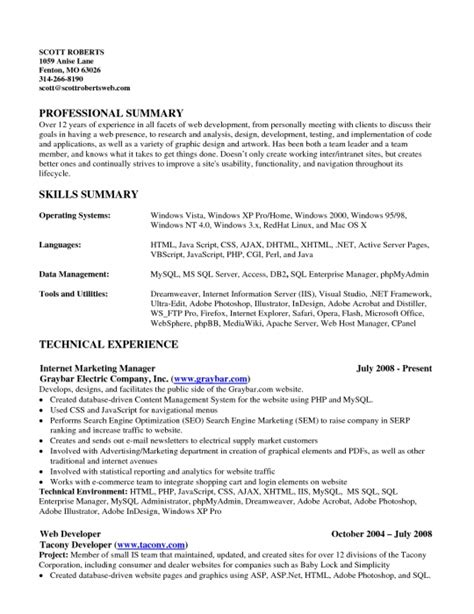 Resume Skills And Summary Update 1267 Qualifications Summary Resume Exles 31