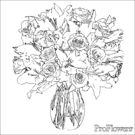 free rose bouquet coloring pages