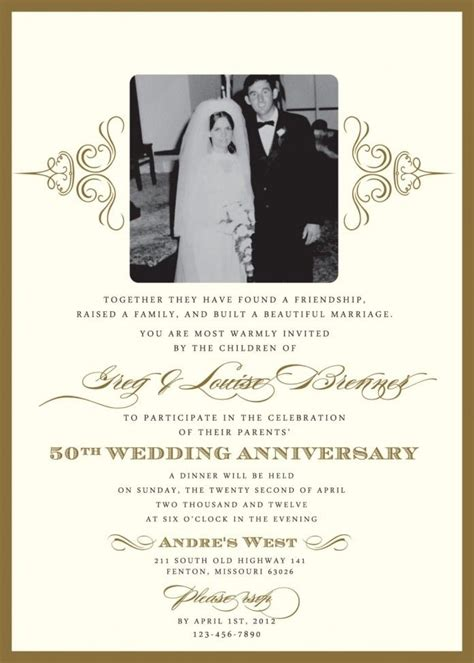 wedding anniversary templates 50th wedding invitation templates wedding gallery
