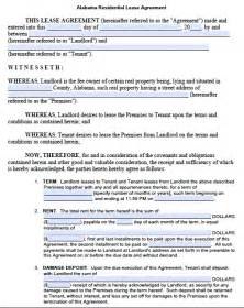 template lease agreement free alabama residential lease agreement pdf template