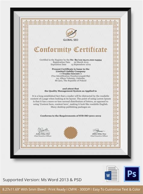 certificate of manufacture template sle certificate of conformance 20 documents in pdf